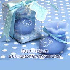 Recuerdos para Baby Shower - Vela Zapatito Azul - Disponible en www.pkts-babyshower.com