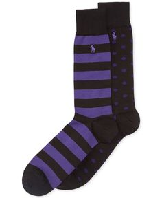 Polo Ralph Lauren Big and Tall Dot and Rugby Stripe Crew Socks 2-Pack