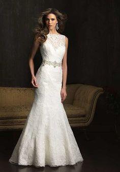 V Back Bateau Sheath/ Column Lace Chapel Train Wedding Dress - 1300103496B - US$259.99 - BellasDress