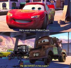 In Cars, when Lightning McQueen was so over Mater: 50 Forgotten Disney Moments That'll Make You Laugh Every Time Disney Cars Party, Disney Pixar Cars, Disney Memes, Car Party, Funny Disney, Cars 1, Emperors New Groove, Disney Nursery, Dreamworks