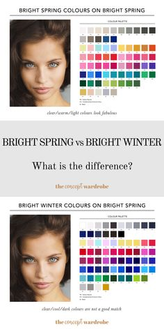 Bright Spring vs Bright Winter: These are the two brightest seasons of the seasonal colour analysis. Clear Winter, Clear Spring, Bright Spring, Warm Spring, Winter Colors, Spring Colors, Deep Autumn Color Palette, Seasonal Color Analysis, Cool Skin Tone