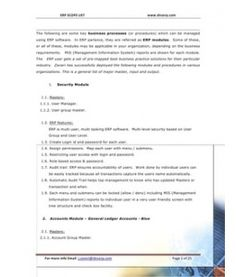 ERP Modules Scope Generic 29 Modules major master, input and output Study Materials, Presentation