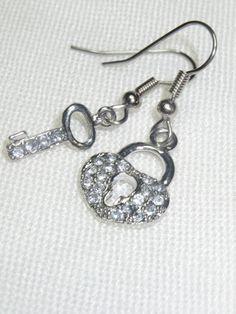 Mismatched Earrings Heart Earrings Key Earrings Lock by Thielen