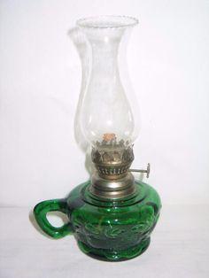 Vintage+1950s+Emerald+Green+Miniature+Oil+Kerosene+Finger+Lamp+-+w/+Wick+-+Brass+