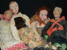4 paper machete dolls 1930s