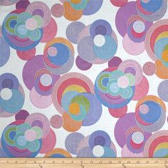 Designed by Deleon Design Group for Alexander Henry, this cotton print is perfect for quilting, apparel and home decor accents. Colors include periwinkle, grey, pink, yellow, blue, purple, and white.