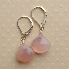 pink earrings end of year teachers gift chalcedony by izuly, $29.00