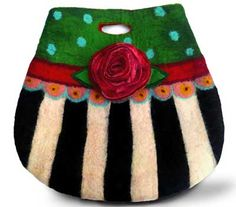 felt carry bag... but!  would be soooo sweet as a purse, painted purse/beads/stitching/oh my...