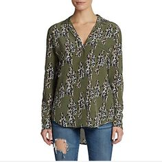 EQUIPMENT  keira dalmatian print silk blouse sold out! Orig price $268 @ Saks. Super cute army green silk blouse with Dalmatian dog print. Adorable with jeans for any animal lover  excellent like new- just a little wrinkled. Equipment Tops Blouses