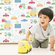 Kids love this playful design of cars and lorries from Just 4 Kids Collection by Galerie - G56010R #galerie #homedecor #kids #wallpaper #wallcovering #interior