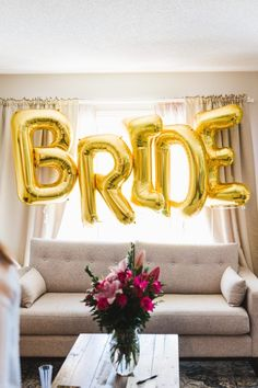Bride gold foil balloon, Amy Sturgeon Photography, http://mytrueblu.com/2016/07/11/rustic-chic-bridal-shower-jamie/