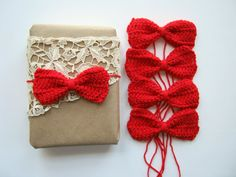 http://www.etsy.com/listing/82633927/5-crimson-red-bows-hand-crocheted-for?ref=tre-2071079095-1    other lovely Valentine's wrapping at http://www.etsy.com/treasury/MTUwNjQ1MjZ8MjA3MTA3OTA5NQ/you-have-the-gift-now-wrap-it?index=2199