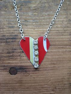 Vintage Reclaimed Upcycled Tin Heart Necklace by hoitytoitydesigns, $19.00
