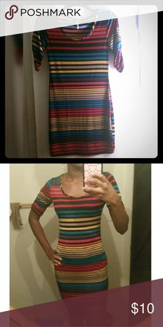 Junior's Colorful Short Dress Great if worn with leggings!!! In great condition! Just alittle roo short for my taste & height!! But someone else would love it!! Please bundle :) Dresses Mini