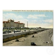 "Hotel Galvez, Galveston, Texas 1924 Vintage Poster From $9.80 for a 6"" X 4"" value poster paper matte finish."