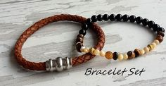 Hey, I found this really awesome Etsy listing at https://www.etsy.com/listing/265227466/bracelet-set-leather-bracelet-braided