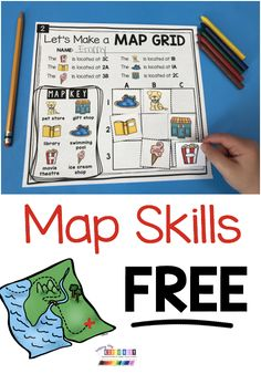 Teach your students how to read a map - FREE map worksheet - kindergarten and first grade mapping skills - social studies and science for spring and Earth day activities - free printables and activities - map worksheets for students to practice directions Preschool Social Studies, Social Studies Worksheets, Social Studies Notebook, Social Studies Classroom, Map Worksheets, Homeschool Worksheets, Homeschool Curriculum, Teaching Maps, Teaching Geography