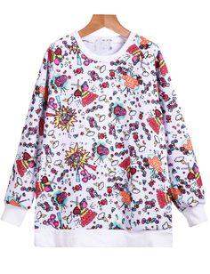 White Long Sleeve Candy Stars Print Sweatshirt - Sheinside.com