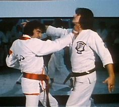 Elvis Presley is with David Stanley his step brother while filming karate workout in September 1974