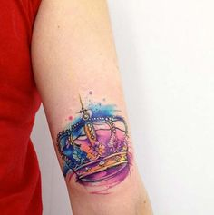 watercolor vrown tattoo tumblr renkli taç dövmeleri