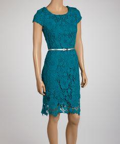 Teal Lace Belted Sheath Dress - Women