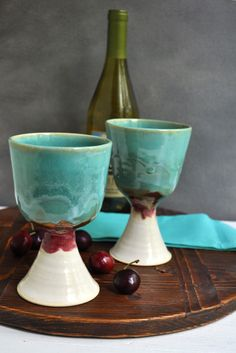 Ceramic Wine glasses in Turquoise Sunset from Lee Wolfe Pottery