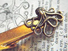 Octopus Tie Clip Gold & Brass Mixed Metals Vintage Inspired Men's Tie Clip Handcrafted Tie Bar From Cosmic Firefly