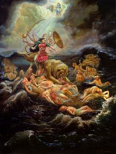 Goddess Painting - Goddess Durga In The Ocean Of Lust by Dominique Amendola manish yadav Kali Goddess, Goddess Art, Moon Goddess, Maa Durga Image, Maa Durga Photo, Durga Images, Durga Maa Pictures, Ganesh Images, Durga Painting