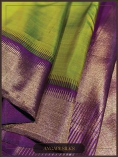 A modern adaptation of the 'Gopuram' (tower) border. Interesting colour combo and a sophisticated pallu add glam to the wearer. Pattu Sarees Wedding, Wedding Saree Blouse Designs, Wedding Silk Saree, Bridal Sarees, Kanjivaram Sarees Silk, Indian Silk Sarees, Kanchipuram Saree, Kanakavalli Sarees, Georgette Sarees