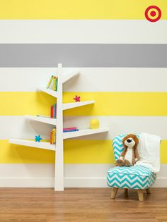 Create the perfect reading nook for your little reader. The spruce tree bookcase holds books and toys, and looks so cute in the nursery.