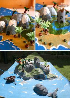 Papier mache story island children's craft project