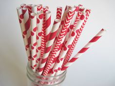 25 Red Stripe Dot and Chevron Paper Straw Mix -   Makes me think of Christmas and