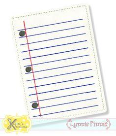 Notebook Paper Applique 4x4 5x7 6x10 *KCK*