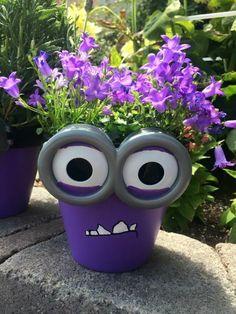blumenkübel bepflanzen ideen bilder lila blumentopf dekoration ideen graue brille monster minions film