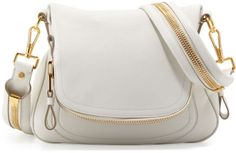 Tom Ford Jennifer Medium Leather Crossbody Bag, White on shopstyle.com