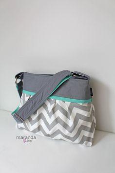 Chevron Diaper Bag Stella Medium  New Grey Chevron by marandalee, $78.00 Baby Gear Diaper Bag