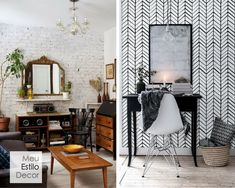 Decoração de sala aconchegante em 3 camadas • MeuEstiloDecor Decorating Tips, Oversized Mirror, Layout, Furniture, Home Decor, First Home, Brick, Snuggles, Bedroom Decor