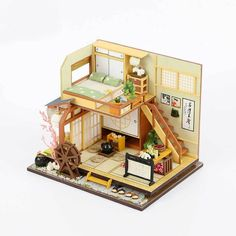 Doll House Furniture Diy Miniature Puzzle Assemble Miniaturas Dollhouse Kits Toys for Children Birthday Gift Japanese Style Building Dollhouse Kits, Dollhouse Miniatures, Puzzle Shop, Casas The Sims 4, Modern Apartment Design, Jugendstil Design, Sand Table, Woodworking Software, Birthday Gifts For Kids