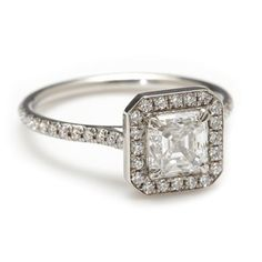 Greenwich Ceremony Collection princess-cut diamond engagement ring with a an 8-sided halo is gorgeous, modern, and unique, at Greenwich Jewelers