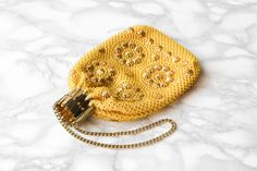 Vintage Concertina Handbag • Gold Yellow Handbag • 1960s Bag • Formal Evening Bag • Beaded Dolly Bag • Gifts For Her • Coin Pouch • Wristlet by Venelle on Etsy