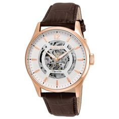 Invicta 22596 Men's Objet D Art White & Silver Skeleton Dial Brown Leather Strap Automatic Watch