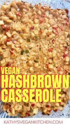 Vegan Hash Brown Casserole is a creamy, delicious, and guilt-free way to enjoy savory and cheesy potatoes. Layered with savory ingredients and an oil-free cheese sauce made of only vegetables, you won't believe how fabulous they are. Vegan Breakfast Recipes, Vegan Recipes, Cooking Recipes, Hash Brown Casserole, Cheesy Potatoes, Cheese Sauce, Vegetables, Cheese Potatoes, Food Recipes