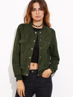 Buy Olive Green, Green SheIn Leather jacket for woman at best price.  Compare Jackets prices from online stores like SheIn - Wossel United States