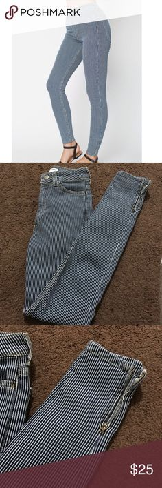 AA pinstripe jeans Perfect condition, never used, size 23, has zippers on ankles! Authentic. Not sold in stores or online anymore American Apparel Jeans Skinny