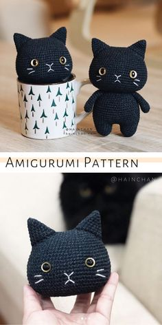 Black Cat Crochet Pattern, Amigurumi Tutorial by HaunChan A cute cat amigurumi pattern for beginners. Easy crochet cat tutorial by HainChan. Crochet Cat Pattern, Crochet Animal Patterns, Crochet Patterns Amigurumi, Stuffed Animal Patterns, Crochet Dolls, Easy Crochet Animals, Crochet Cat Toys, Plush Pattern, Chat Crochet