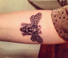 bee tattoo | victorian bee brooch tattoo | tatou
