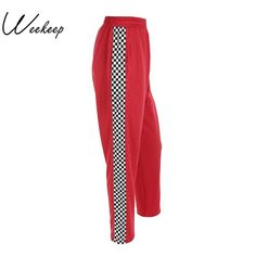 WEEKEEP Women s Side Checkerboard Pants 478734d1da2