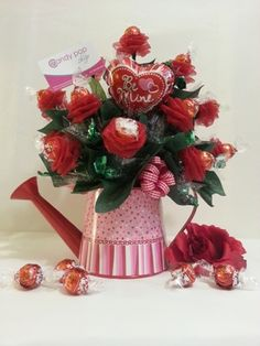 Candy Pop Shop - Dozen Chocolate Red Roses Valentine Candy Bouquet