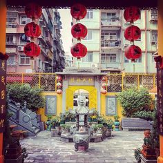 i stumbled upon this #beautiful buddhist #temple while #exploring the streets of #macau. there was nothing written in english anywhere so i have no idea the name of the temple. discovering this kind of place is the kind of happy accident i love when traveling. #buddha #buddhism #red #yellow #explore #garden #gardens #travel #travelgram #traveling #travelphotography #asia