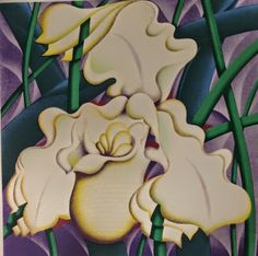 abstract flowers - purple green and white